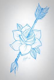 rose and arrow sketch tattoo outline pinterest arrow