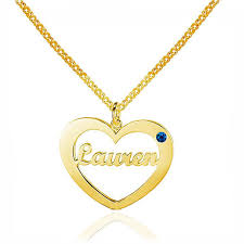 customized name necklace 18k gold color heart shape customized name birthstone necklace for
