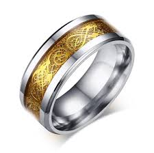 mens stainless steel wedding bands 8mm wide stainless steel mens ring with design inlay