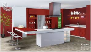 Red Kitchen Set - my sims 3 blog cayenne kitchen set by simcredible designs