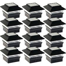 Indoor Solar Lights by Solar Lights For 4 4 Posts 12 Pack Black Solar Powered Square 4 X