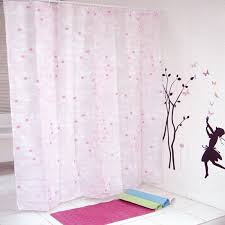 pink shower curtain for your bathroom with leaf pattern