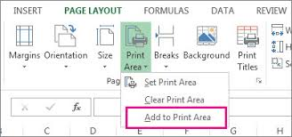 set or clear a print area on a worksheet excel