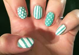 green and white spots and stripes nail art claire victoria