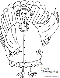 thanksgiving words turkey wearing earmuffs and coat coloring page