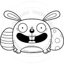 cartoon easter bunny smiling black u0026 white line art by cory