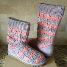 womens knit boots size 11 ugg 5822 s pink stripe cable knit boots size 6