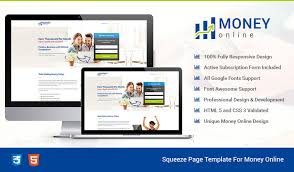 html5 responsive money online squeeze page design templates to