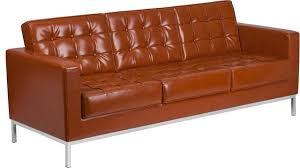 Cognac Leather Sofa by Hercules Lacey Series Contemporary Cognac Leather Sofa