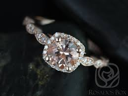 Halo Cushion Engagement Rings Rosados Box Christie 6mm Rose Gold Round Morganite And Diamond