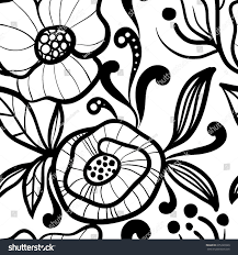 black white floral vector seamless pattern stock vector 635226560