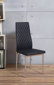 6 Black Dining Chairs 6 Black Chrome Hatched Faux Leather Dining Chair Furniturebox