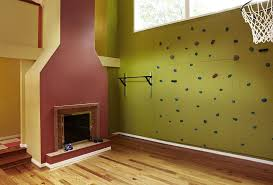 Home Gym Wall Ideas Home Gym Transitional With Bold Colors Bold - Home rock climbing wall design
