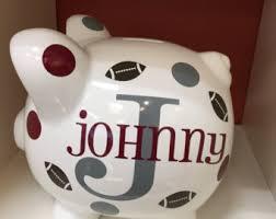 monogram piggy bank custom piggy bank etsy