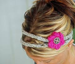 crochet hair bands knitted headband hairbands with flower hair band button