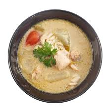 galangal cuisine top view of food chicken and galangal in coconut sou