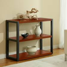 black polished metal based bookcase using two tier cherry wood