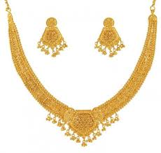 gold necklace with earrings images Gold necklace set ajns51174 22k gold beautifully hand crafted jpg