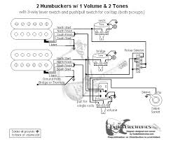 2 humbuckers 3 way lever switch 1 volume 2 tones coil tap
