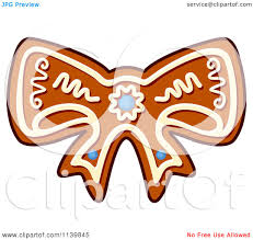 clipart of a bow gingerbread christmas cookie royalty free