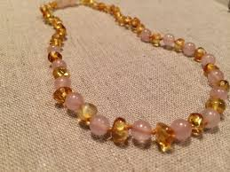 baby bead necklace images Baltic amber teething necklace lemon pink rose quartz separation jpg