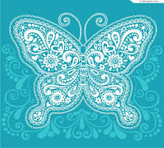 4 designer delicate figure of blue butterfly vector material