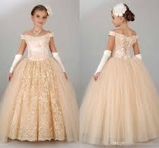 2016 new vintage flower girls dresses for wedding off shoulder