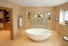 bathroom bright beige open bathroom with white oval free standing
