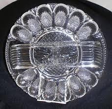 glass deviled egg platter heavy glass deviled egg platter by l e smith glass co ebay