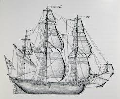 drawn sailing ship pencil drawing pencil and in color drawn
