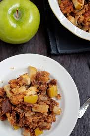 green apple and sausage with pumpkin bread