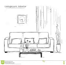 Couch Drawing Home Interior With Couch And Table Hand Drawn Color Sketch Stock