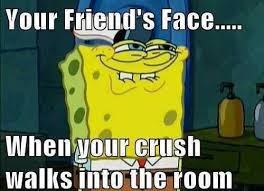 Funny Memes For Friends - your friend s face when your crush walks in funny meme silly
