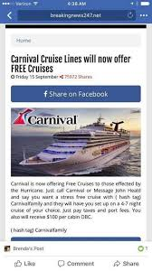 post offering carnival cruise for hurricane victims a
