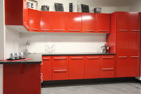engaging straight shape red kitchen featuring double door kitchen