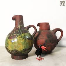 two giant ceramic jug vases by gerhard liebenthron 19 west