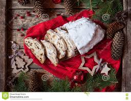 traditional dresdner german christmas cake stollen with raising