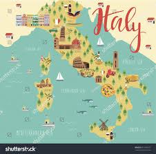 Map Of Florence Italy Illustration Map Italy Animals Landmarks Vector Stock Vector