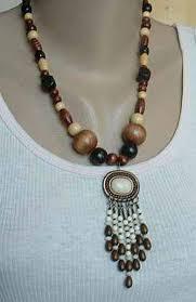 bead necklace wood images Wood bead necklace metal pendant married earrings set vintage jpg