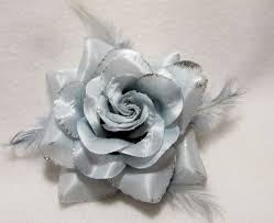 silver roses with feathers hair flower clip