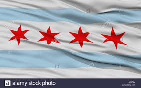 Chicagos Flag Closeup Of Chicago City Flag Waving In The Wind Illinois State