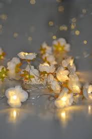 snow white flower string warm white led lights bedroom