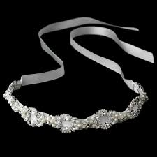 ribbon headband pearl swarovski wedding bridal ribbon headband