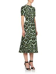 givenchy midi dress in green leopard print stretch cady in multi