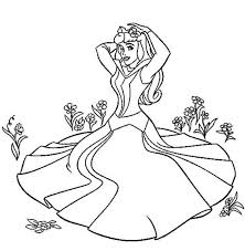 princess aurora sitting grass sleeping beauty coloring