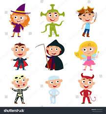 alien halloween costume vector set children halloween costumes pirate stock vector