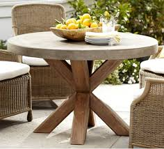 round cement picnic tables pottery barn concrete top modern wood outdoor dining table home