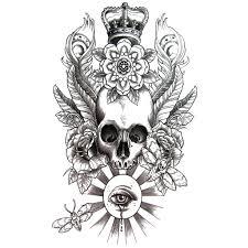 temporary tattoo skull skull eye crown artwear tattoo