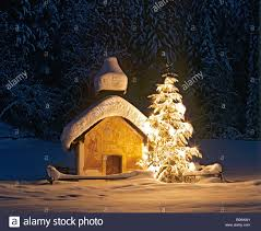 chapel near elmau dusk snow covered winter landscape christmas