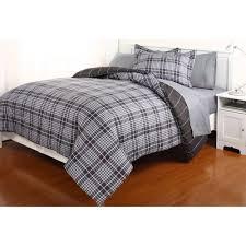 Complete Bedroom Sets Gavin Grey Plaid Complete Bed In A Bag Bedding Set Walmart Com
